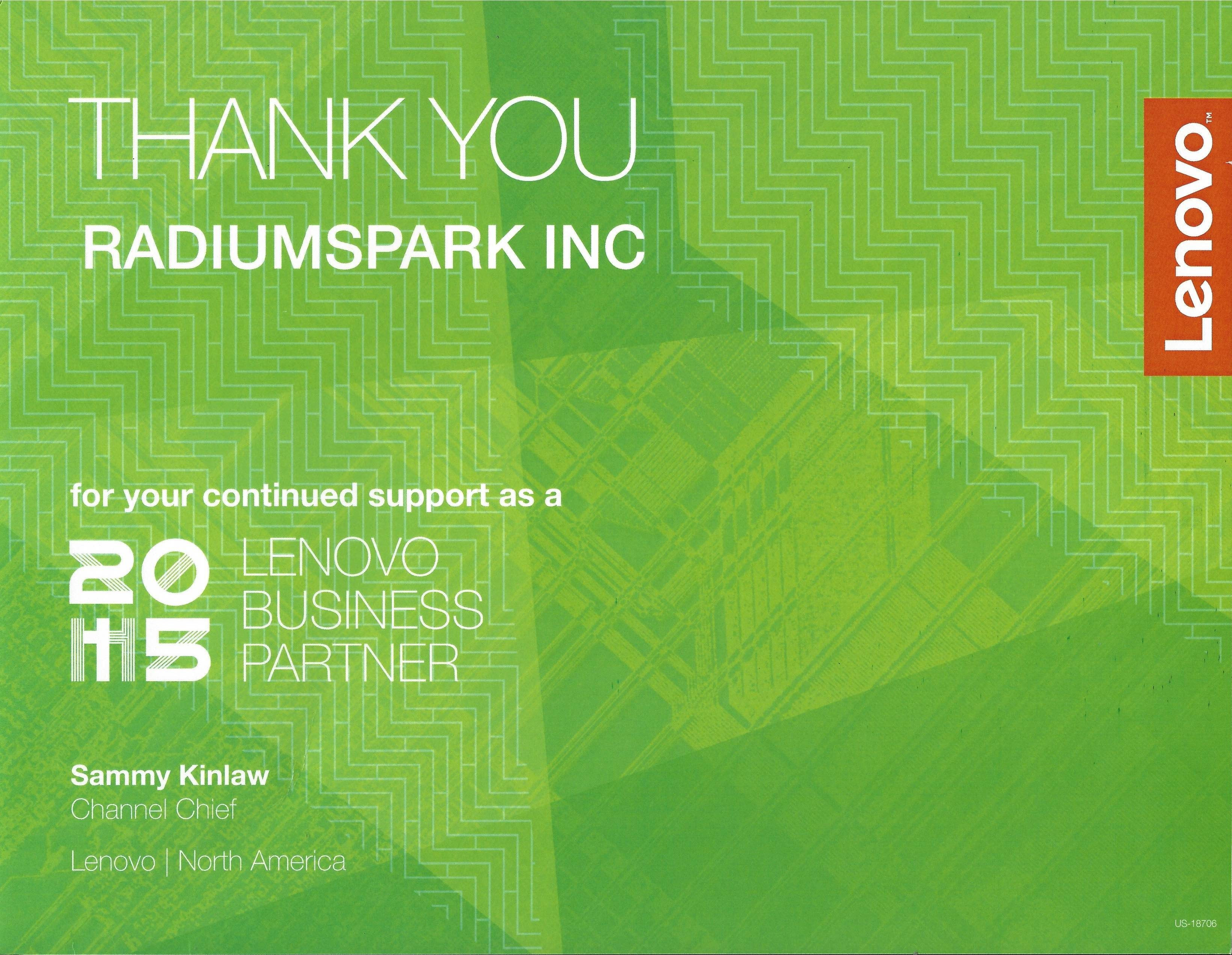 RadiumSpark and Lenovo™ – 2nd year of Business Partnership - For Those Who DO.